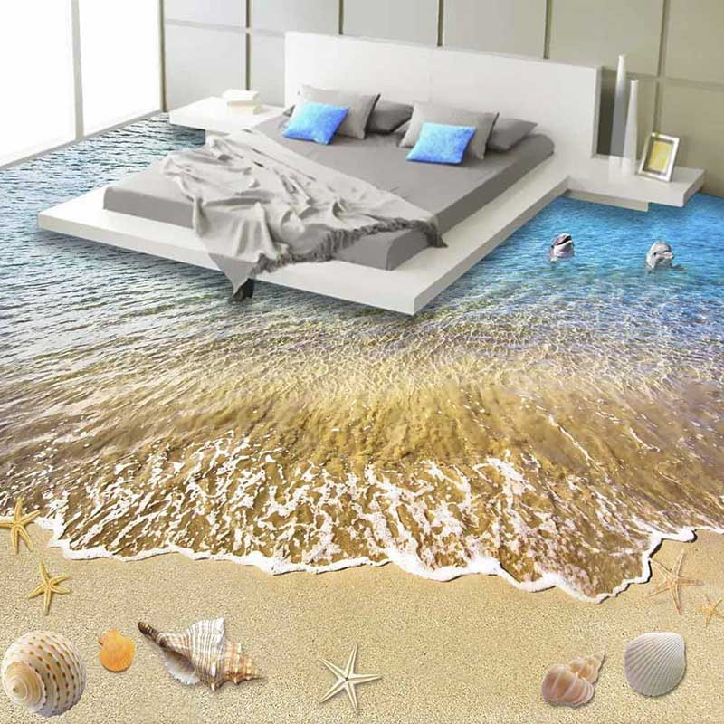 Custom 3D Floor Sticker Wallpaper Painting PVC Wallpaper Summer Beach Wall Papers For Living Room Bedroom Good Quality New 223