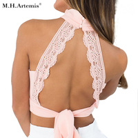 M.H.Artemis Chic High Neck Elegant Lace Tank Top Women Sexy Boho Backless Halter Tops Summer Chiffon Crop Tops Retro Ladies