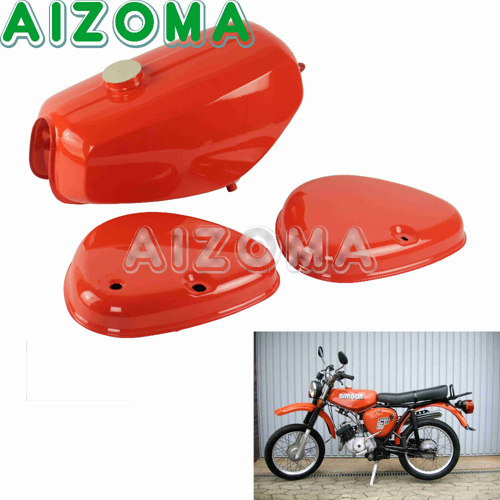 190830 Orange Motorcycle Banana Shape Gas Oil Tank With 2pcs Side Cover Custom Steel Fuel Tank Kit For Simson S50 S51 S70 цена 2017