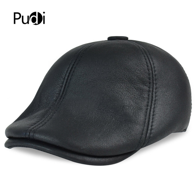 aee99184 HL113 real leather baseball cap hat winter warm Russian old men beret  newsboy ear Flap caps hats with real fur inside
