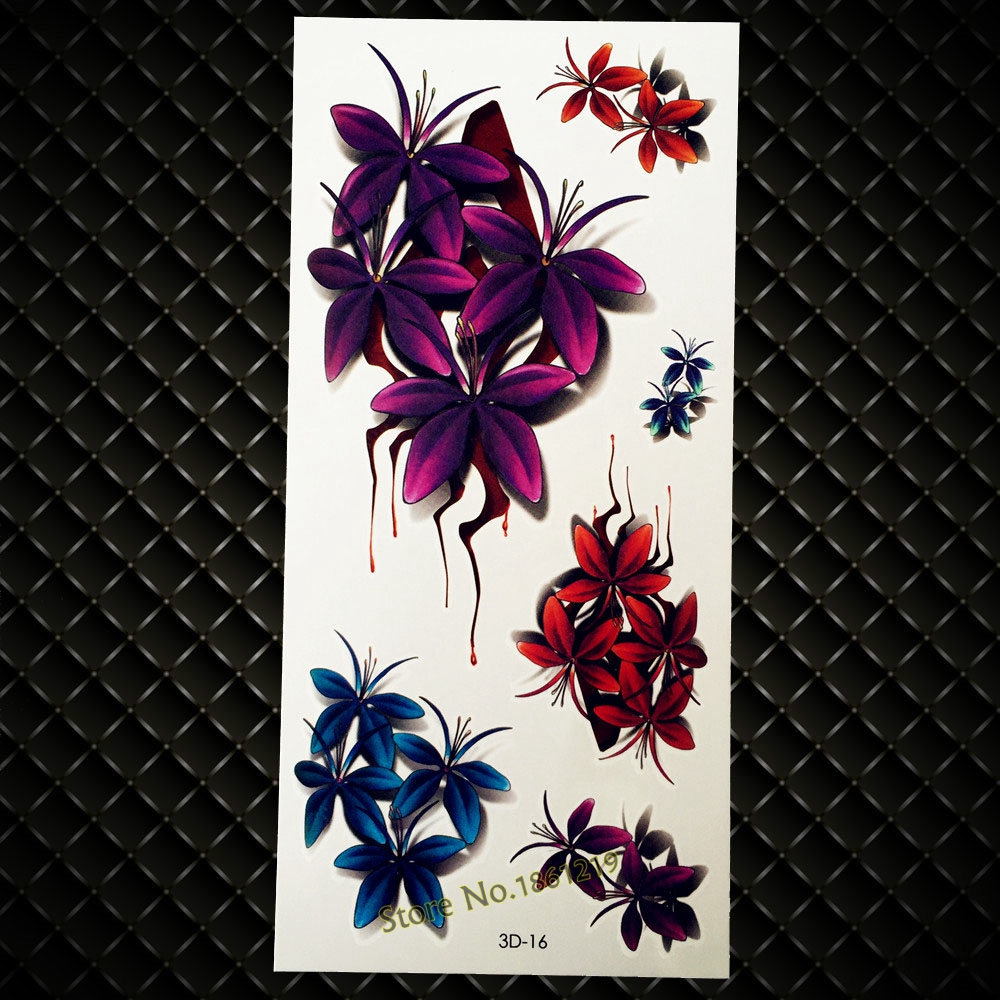New Sexy Body Art 3D Flash Tattoo Vivid Flower Blood Design Temporary Tattoo Sticker Arm Leg Decals Waterproof Fake Tattoos GD16