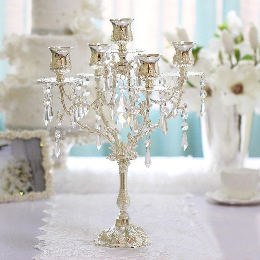 Европейский стиль, романтические свечи обеденные декор стола центральный, канделябры, 2017 Новый цинковый сплав 5 рук подсвечники