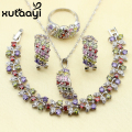 XUTAAYI 4PCS Jewelry Set 925 Sterling Silver Clean Alluring Multicolor Imitation Topaz Earrings Ring Necklace Pendant Bracelet