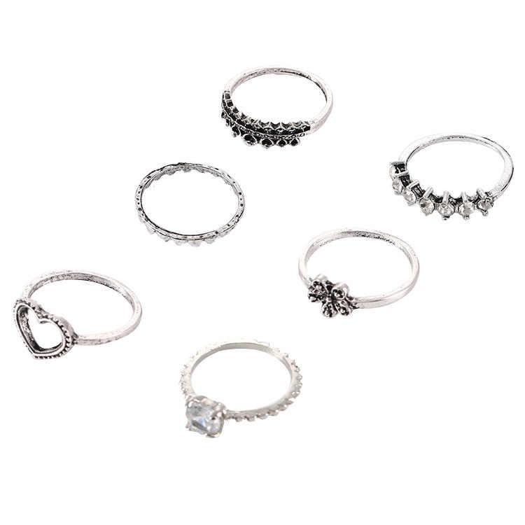 1 ชุดดอกไม้รักแหวนที่ไม่ซ้ำกันชุดสไตล์พังค์ทองสี Knuckle แหวนนิ้วมือแหวน Knuckle แหวนชุด