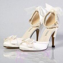 Satin Oberen Mit Bowtie Und Ankle Straps Mit Perlen Hochzeit Schuhe Brautkleid Schuhe Süße prinzessin Abend Party Schuhe