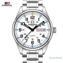 Nouveau double calendrier date tritium lumineux quartz militaire montre étanche 200 m carnival sport marque montres hommes plein steei