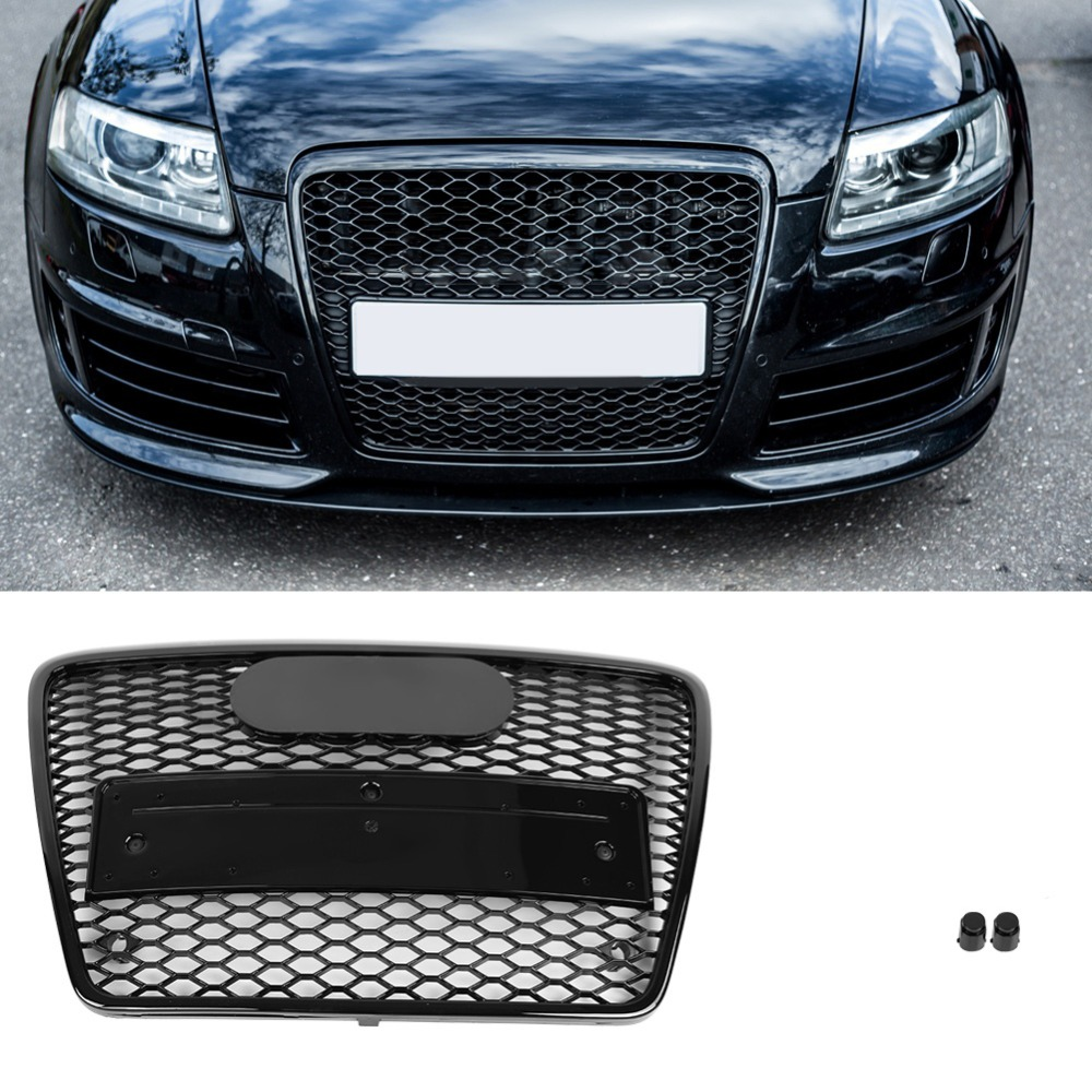 For RS6 Style Front Sport Hex Mesh Honeycomb Hood Grill Gloss Black for Audi A6 S6