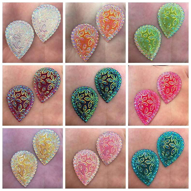 HOT 30PCS mix 18mm*25mm AB Resin Teardrop Flatback Rhinestone  Embellishment DIY