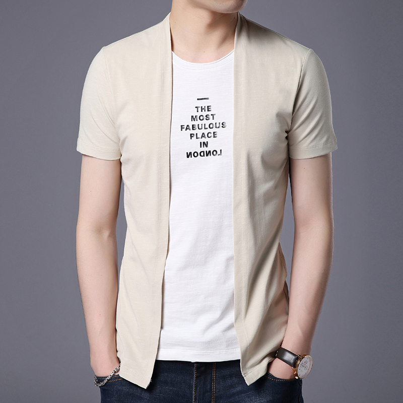 2019 New Fashion Brand T Shirts For Men Solid Color False Two Summer Trends Street Wear TopsKo Short Sleeve Tshirts Men Clothes