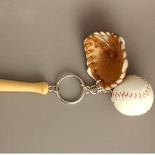 12pcs/lot Alloy Key Chains Baseball Bat Ball Mitt Sports Multiple Color Casual Sporty Style Men Women Teenager KeyRing KeyChain
