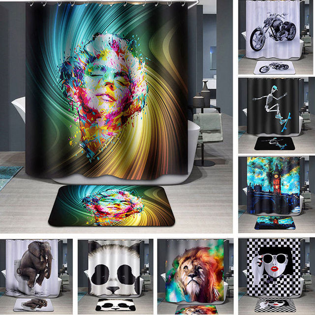 Fashion 3D Print Lion/ELephant Bathroom Fabric Shower Curtain Rug ...