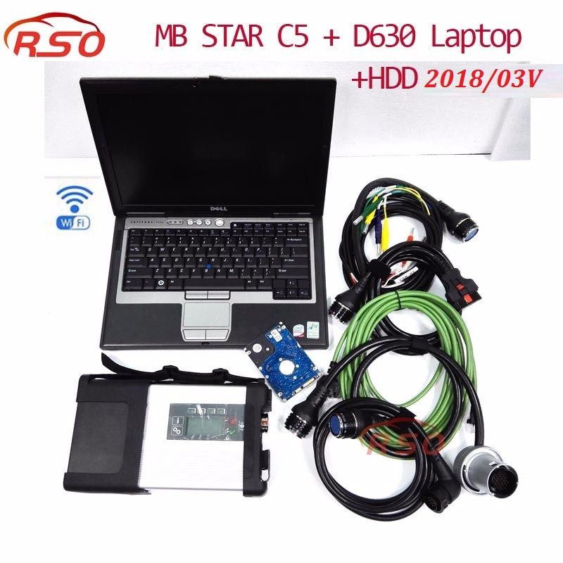 Royalstar MB Star C5 with newest Software 201805 Laptop D630 mb sd connect C5 Support wifi Connection free ship for MB vehicles