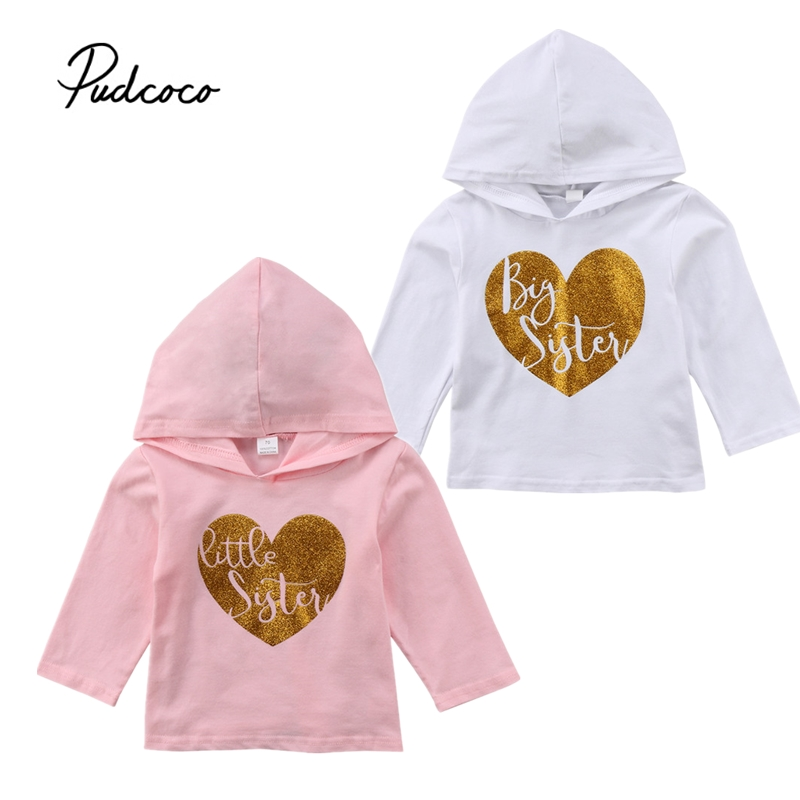 Spring Clothes Newborn Kid Baby Girl Big Sister Little Sister Matching Clothes Long Sleeve Hooded Tops T-shirt Hoodies