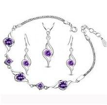 2017 caliente venta de moda plata de ley 925 sistemas de la joyería femenina pendientes de gota colgante collares pulseras joyería al por mayor