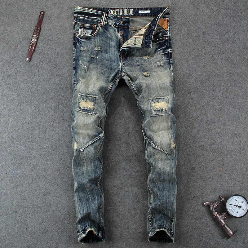 Italienische Mode männer Jeans Hohe Qualität Slim Fit Zerstören Zerrissene Jeans Männer Klassische Tasten Hosen Marke Biker Jeans homme