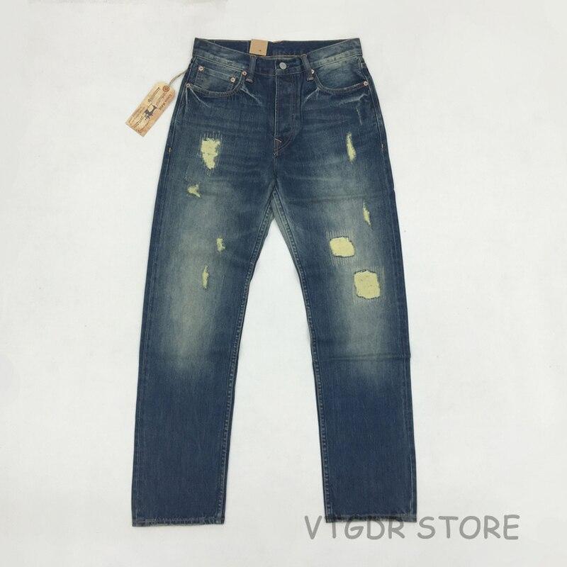 BOB DONG 14 unze männer Gerade Bein Jean Vintage Zerrissene Gepatcht Selvage Denim Hosen-in Jeans aus Herrenbekleidung bei  Gruppe 1