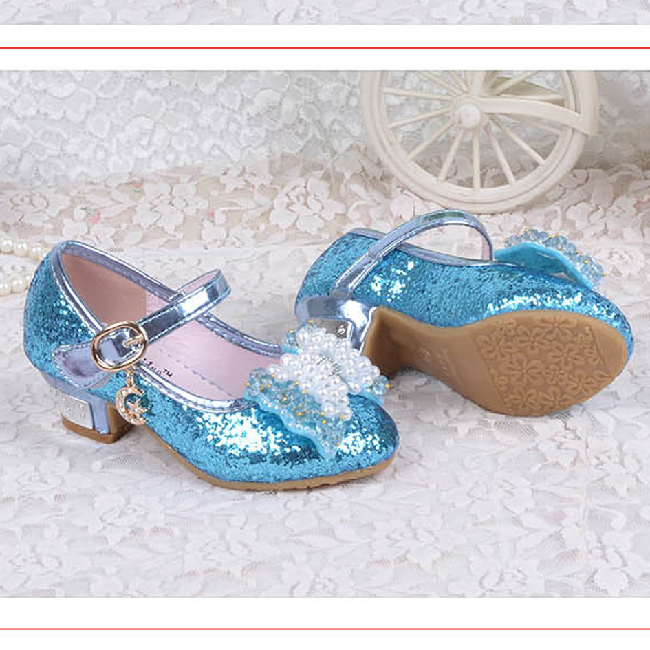 24dcdf84d2c 2016 Sparking Glitter Children Girls High Heels Dance Shoes Beading Kids  Girls Pumps Christmas Party Snow Queen Elsa Shoes-in Sandals from Mother   Kids  on ...