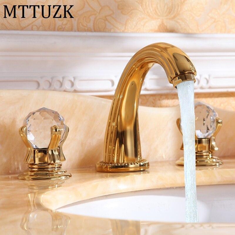 MTTUZK 3 pièce Ensemble Lavabo Mélangeur de luxe de haute qualité en laiton plaqué or cristal poignée bassin robinet évier robinet livraison gratuite