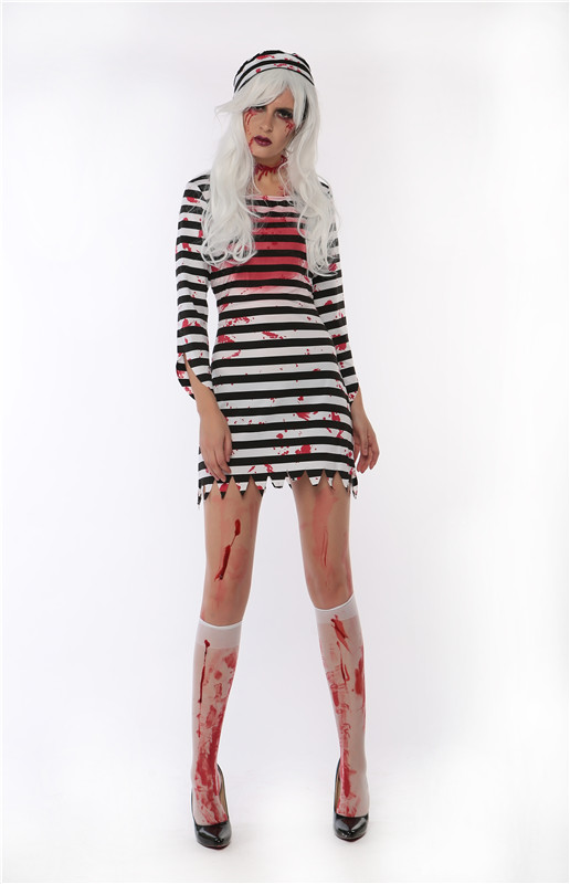 Free Shipping Horrible Lady Easter Day Costume Striped Women Dress