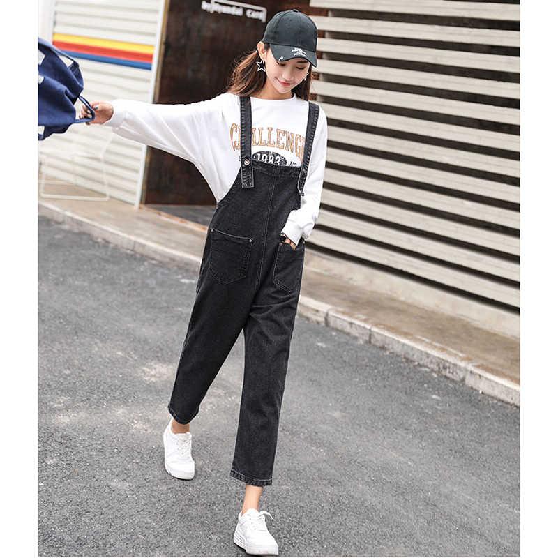 Комбинезон женский джинсовый комбинезон 2019 Весенние длинные брюки без рукавов с регулируемым ремешком и карманами Джинсы Комбинезоны женские s комбинезон