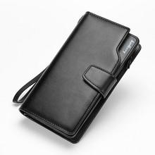 HOT! männer Lange Brieftasche Berühmte Marke Luxus Männlichen Leder Handtasche Lässig Design Reißverschluss Geldbörse Brieftaschen Kreditkarteninhaber