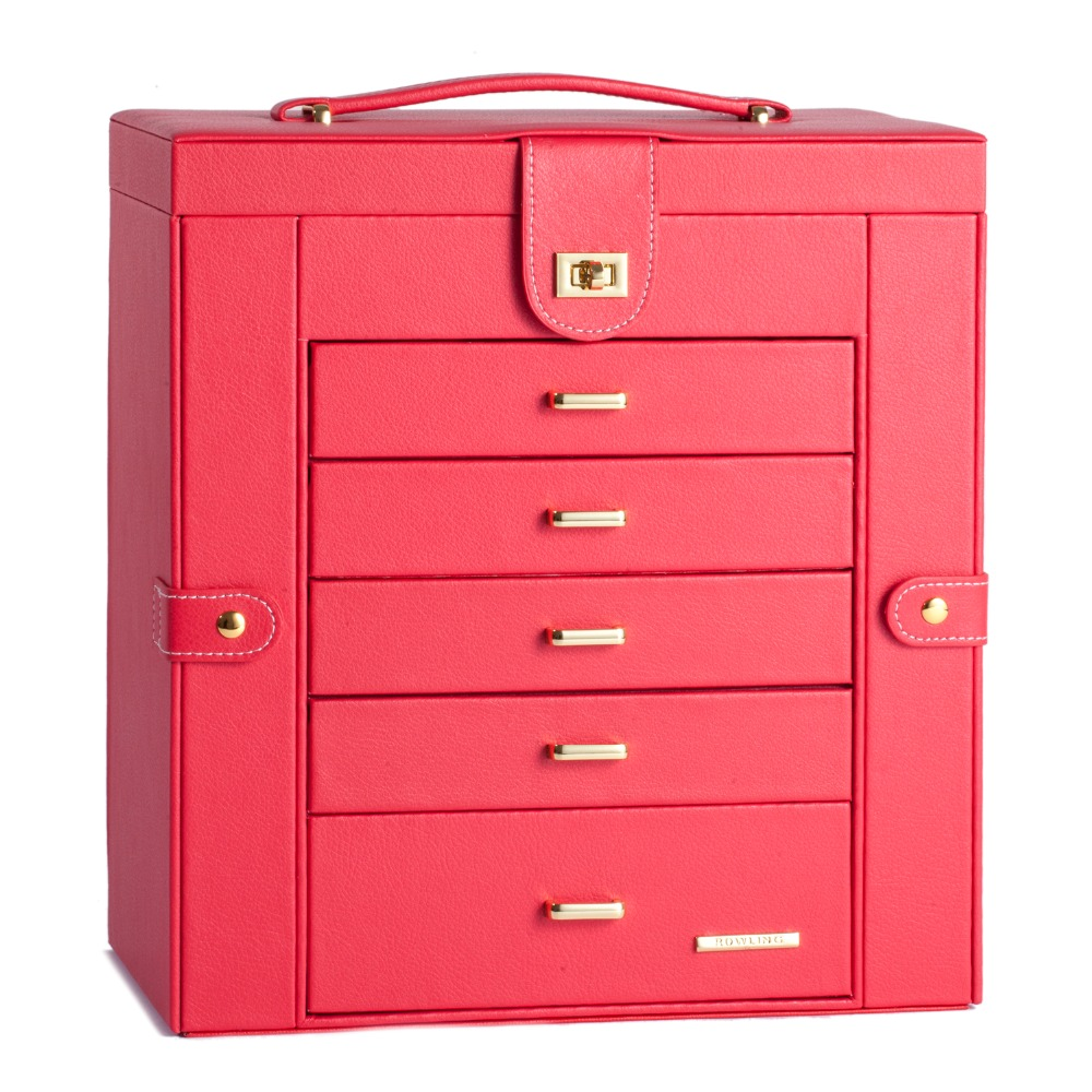 Extra Large Red Jewelry Box Mirror Jewellery Cabinet White Portable Trinket Armoire Luxury PU Bracelets Necklace