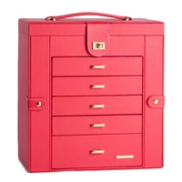Extra Large Red Jewelry Box Mirror Jewellery Cabinet White Portable Trinket Armoire Luxury PU Bracelets Necklace Carrying Cases
