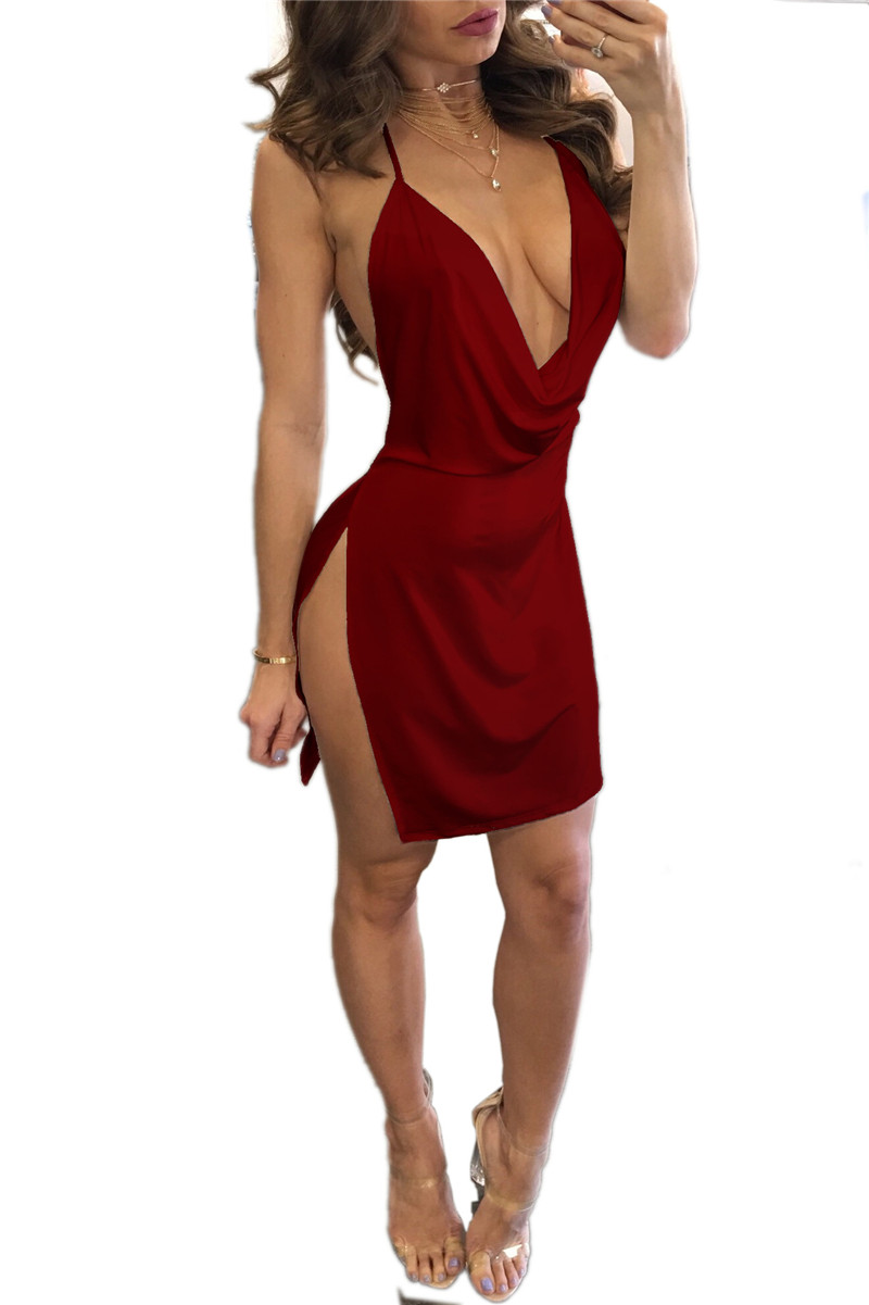 6 Colors  Women Sexy Low Cut Super Mini Dress 2018 Summer Hot Sale Womens Solid -1605