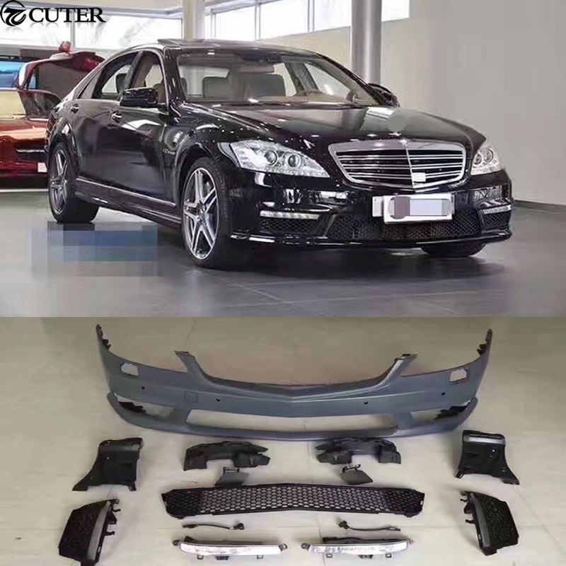 W221 S350 S65 S63 AMG style Car body kit PP Dipinto anteriore paraurti Posteriore minigonne Laterali per Mercedes Benz W221 s65 S63 AMG 07-13