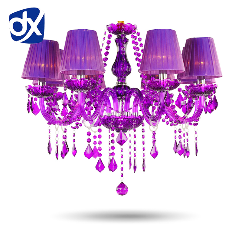 Purple Crystal Chandelier Lustre Crystal Chandelier 6/8/10/12/15/18 Arms Romantic Purple Crystal Chandelier Without Lampshade