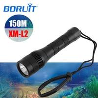 BORUIT LED XM L2 Underwater 150M Diving Flashlight Torch Scuba Diving Lantern Equipment Submarine Light For Fishing Spearfishing