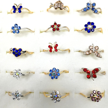 10pcs Fashion Wholesale Lots Bulk Unique Mixed Shape and Color Rhinestone Gold Color Plated Rings For Women Jewelry цена