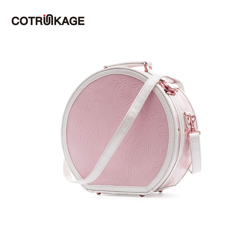 COTRUNKAGE Small Round Hat Box Embossed Pink Carry On Luggage Bag Cosmetic Case with StrapCOTRUNKAGE Small Round Hat Box Embossed Pink Carry On Luggage Bag Cosmetic Case with Strap