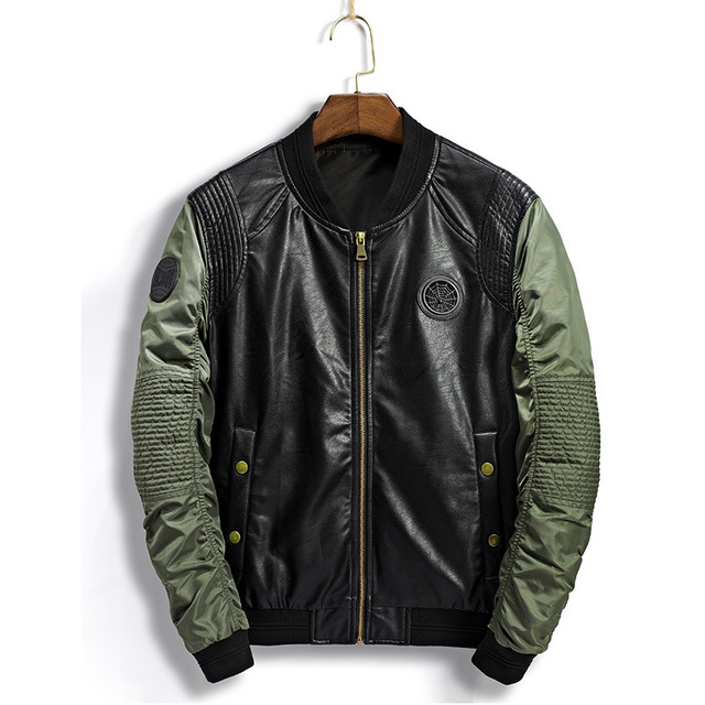 2019 Pleated Bomber Jacket Men Stand Collar Badge Patchwork Male PU Leather Jacket Motorcycle Jacket Men Windbreaker Coat