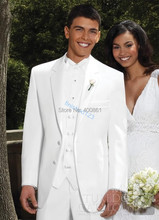 Pure White Groom Tuxedos Suit Groomsman Formal Prom Dresses Business Suit Jacket Pants Vest Tie Kerchief