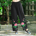 New 2016 Autumn Spring Women's Elastic Loose Wide Leg Pants Big Size Cargo Casual Trousers Vintage Embroidery Harem Pant