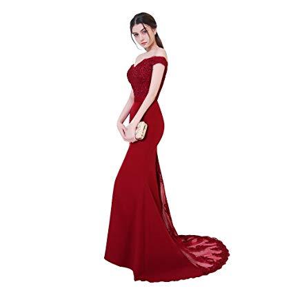 Cheap V-Neck   Evening     Dresses   2019 Lace Appliques Party Long   Dress   Formal Gowns
