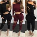 2016 New arrive high fashion full sleeve long rompers slash neck sexy rompers ladies casual rompers
