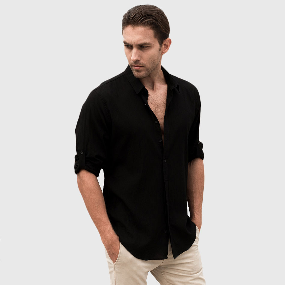 Mens Black Casual Shirt Custom Shirt