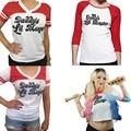 Осень Женщины футболка Топы Suicide Squad Харли Квинн папа Lil Монстр Три Четверти Рукав Женский Футболка Косплей костюм