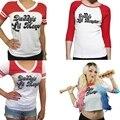 Otoño camiseta de Las Mujeres Tops Comando Suicida Harley Quinn de Papá Lil Monster Manga del Cuarto de Tres Camiseta Femenina Camisa Cosplay traje