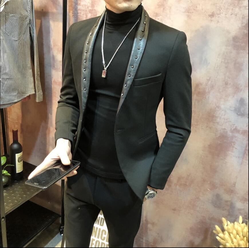 Rebite jaquetas masculina moda ternos vestido anfitrião magro versão coreana do pequeno terno boate barbeiro jaqueta preta primavera e outono - 3