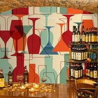 Customized stereoscopic 3D abstract 3D wallpaper red wine bottle bar clean bar restaurant sofa background 3D wallpaper murals