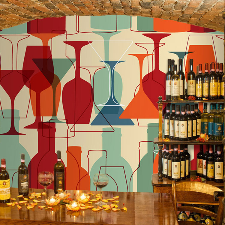 Customized stereoscopic 3D abstract 3D wallpaper red wine bottle bar clean bar restaurant sofa background 3D wallpaper murals customized home personalized seamless integration of the abstract paintings lotus wallpaper 1x3m