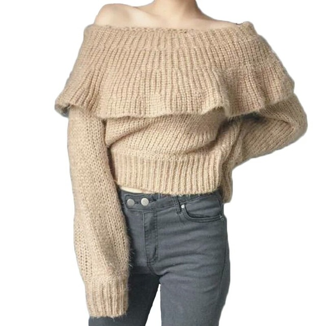 Online Shop Cool Refulles Sexy Sweater Off Shoulder Knit Pullover ...