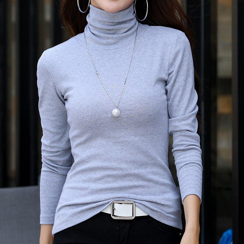 Plus Size T Shirt Women Long Sleeve Turtleneck T shirts Basic Cotton Tops Camiseta Feminina S 5XL