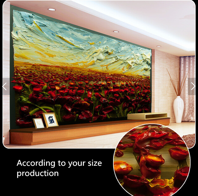 Custom 3D stereoscopic wallpaper, rose oil painting for the living room bedroom TV background wall waterproof wallpaper rose bead curtain large mural 3d wallpaper living room bedroom 3d wallpaper painting tv background stereo 3d wallpaper