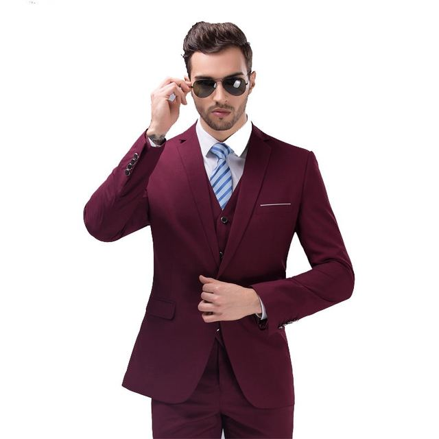 2016 nueva llegada de la Alta calidad vestido de weding, un botón juego ocasional de los hombres, trajes de Negocios de vino de los hombres rojos, plus-size S-4XL, 10 colores