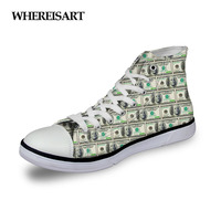 WHEREISART 2019 Spring New Women Shoes Vulcanize High Top Canvas Sneakers Lace Up Girls Footwear Cash Print Female Espadrilles
