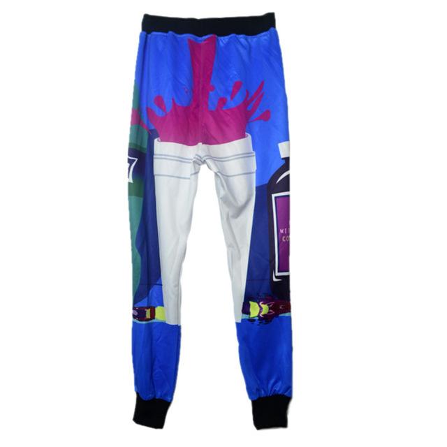 Novo inverno calças de fitness lazer confortável tendência criativa tether calças impressão 3d bebida padrão harem pants hip hop calças